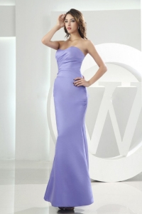 Lilac Mermaid Prom Dress Satin Ankle-length Strapless Sweetheart