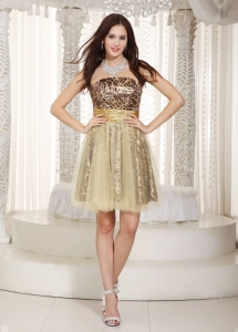 Multi-color Nightclub/Homecoming Dress Knee-length Leopard Tulle