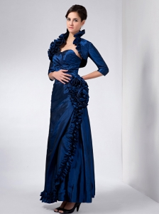 Navy Blue Ankle-length Mother of The Bride Dress Taffeta Flowers