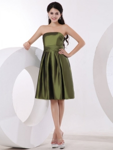 Olive Green Bridesmaid Dress Strapless Knee-length