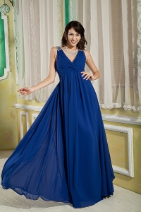 Royal Blue V-neck Prom/Maxi Dress Chiffon Beaded Ruched