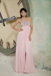 Beaded Pageant Evening Dress Pink Strapless Chiffon Slit