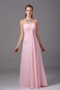 Pink Strapless Chiffon Ruched Empire Bridesmaid Dress