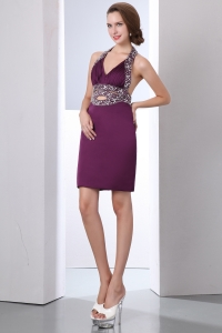 Purple Halter Mini-length Taffeta Beading Clubwear