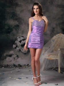 Purple Nightclub/Cocktail Dress Straps Taffeta Beading Mini-length
