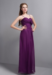 Bridesmaid Dresses Spaghetti Straps Purple Hand Made Flower