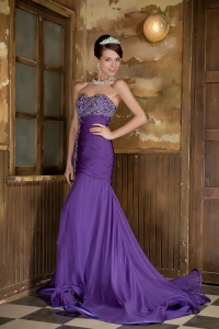 Brush Train Pageant Evening Dress Purple Mermaid Beading