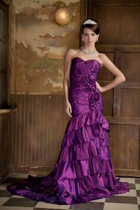 Mermaid Purple Pageant Evening Dress Sweetheart Brush Taffeta