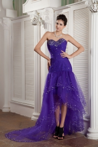 Purple Mermaid Sweetheart High-low Celebrity Dress Tulle Beading