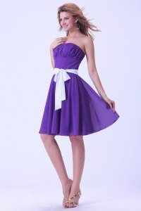 Prom / Homecoming Dress Purple With White Sash Knee-length