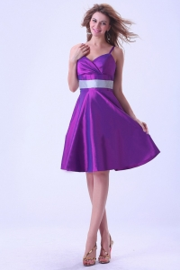 Purple Prom / Homecoming Dress Spaghetti Straps Knee-length