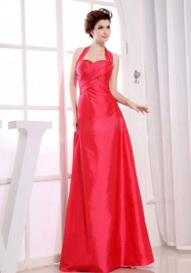 Halter Prom Dress for Party Red A-Line Taffeta Floor-length