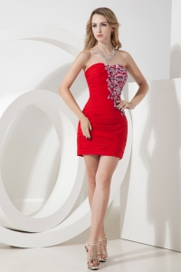 Blood Red Ruched Nightclub/Homecoming Dress Beading