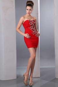 Red Sweetheart Mini-length Chiffon Beading Graduation Dress