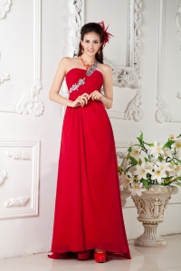 Silver Appliques One Shoulder Brush Train Red Prom Pageant Dress
