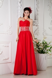 Red Sweetheart Pageant Celebrity Dress Beading Empire