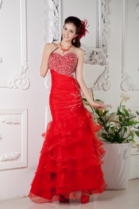 Mermaid Pageant Celebrity Dress in Bright Red Ruffled Organza