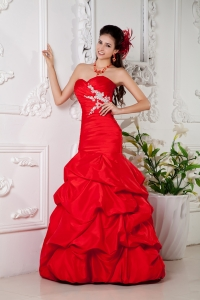 Bright Red Mermaid Pageant Dress Sweetheart Taffeta Appliques