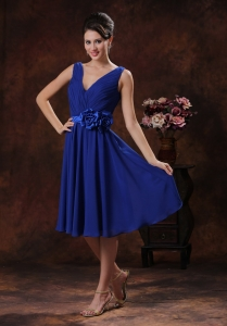 Ruched V-neck Bridesmaid dress Roral Blue With Handle Flowers