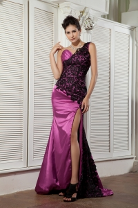 Rose Pink One Shoulder Celebrity Dress Taffeta and Lace Ruch
