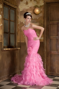 Rose Pink Pageant Evening Dress Mermaid Sweetheart Ruffles