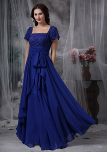 Royal Blue Square Chiffon Beading Mother of the Bride Dress