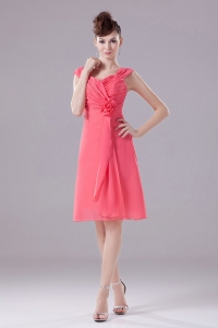 Watermelon Ruched Knee-length Straps Chiffon Bridesmaid Dress