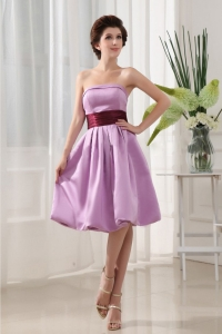 Eggplant Sashes Lavender Dress for Bridesmaid Knee-length