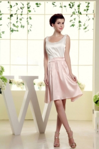 White and Baby Pink Bridesmaid Dress Scoop Mini-length