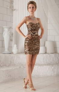 Sexy Sweetheart Mini-length Leopard Cocktail Dress
