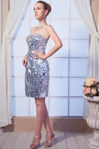 Silver Strapless Mini-length Sequin Graduation Dress