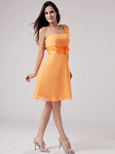 Orange Red One Shoulder Bridesmaid Dress Sash Ruch Chiffon
