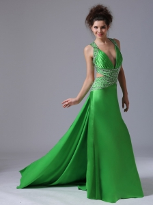 Spring Green Pageant Evening Dress V-neck Taffeta Sexy Back