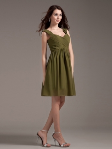 Olive Green Chiffon Straps Knee-length Prom Dress