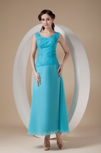 Teal Wide Straps Mother in Law Dresses Ankle-length Chiffon