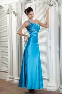 Teal One Shoulder Ankle-length Satin Beading Ruch Pageant Dress
