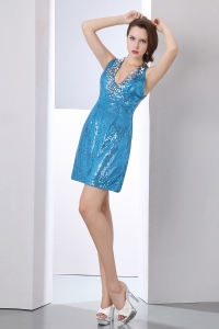 Teal V-neck Graduation Dress Mini-length Sequin Sequins