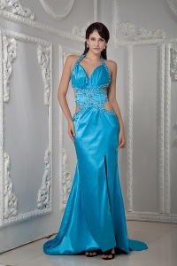 Teal Pageant Evening Dress Halter Brush Train Beading Empire