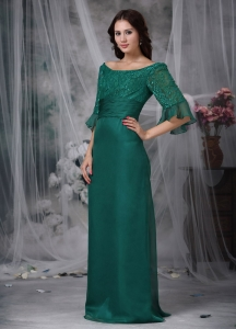 Turquoise Scoop Chiffon Mother of the Bride Dres