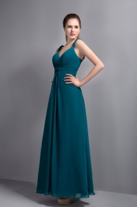 V-neck Ankle-length Bridesmaid Dresses Ruch in Turquoise Chiffon