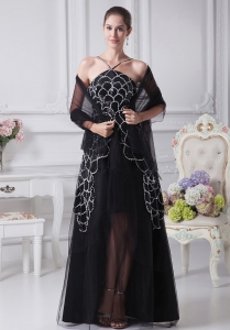 Beaded Straps Mother Of The Bride Dress Black Tulle White Scale
