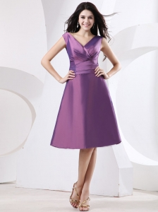 Purple V-neck Bridesmaid Dress Knee-length and Bow