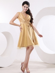 Champagne V-neck and Sash Prom Gown Tulle and Satin