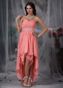 High-low Prom/Maxi Dress Watermelon Red Sweetheart Beaded
