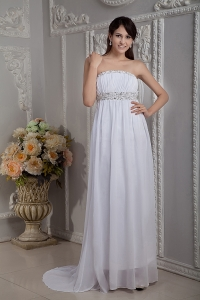 White Strapless Chiffon Beading Pageant Evening Dress