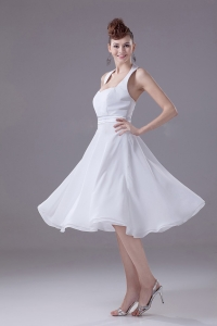 Bridesmaid Dress White Halter Empire Chiffon Tea-length