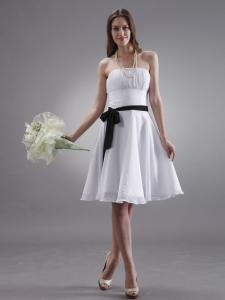 White Prom Dress With Black Sash Knee-length Chiffon