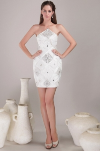 White Halter Nightclub/Graduation Dress Mini-length Satin Beading