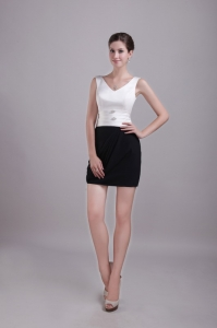 White and Black Cocktail/Homecoming Dress V-neck Mini-length
