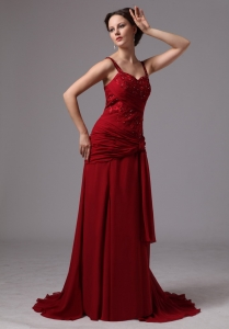 Wine Red Spaghetti Straps Mother Of The Bride Dress